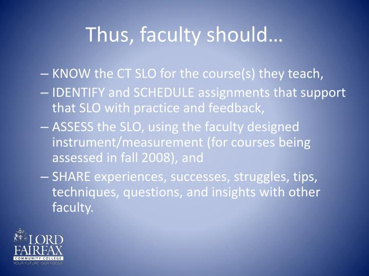 Thus, faculty should…