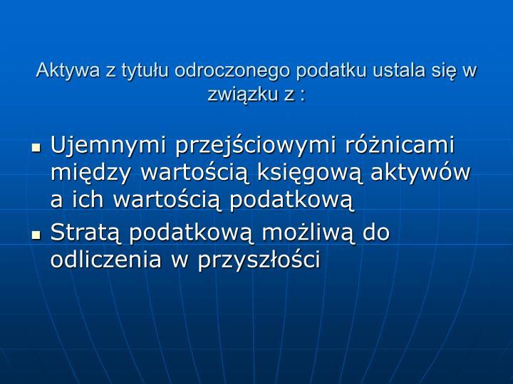 Aktywa z tytułu odroczonego podatku ustala się w związku z :