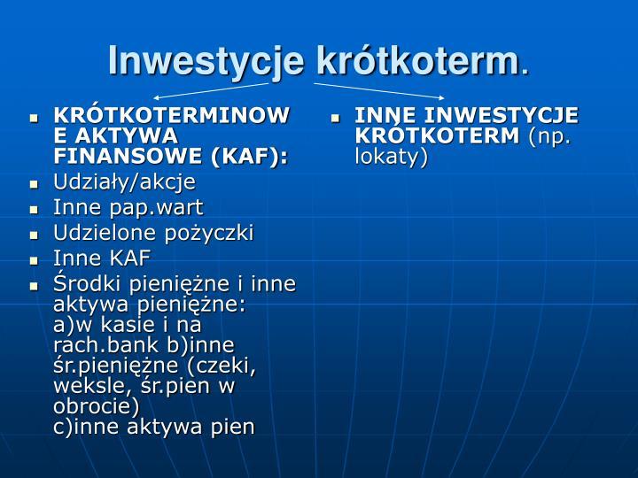 KRÓTKOTERMINOWE AKTYWA FINANSOWE (KAF):