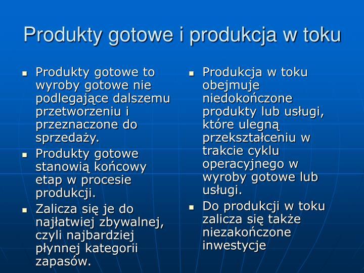 Produkty gotowe to wyroby gotowe nie podlegające dalszemu przetworzeniu i przeznaczone do sprzedaży.