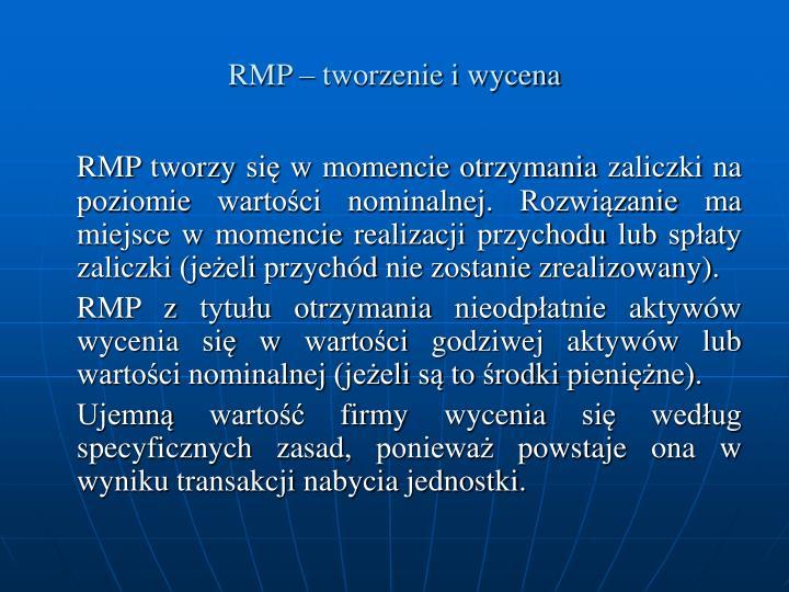 RMP – tworzenie i wycena