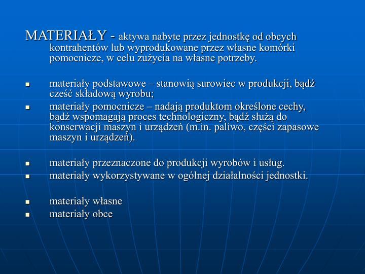 MATERIAŁY -