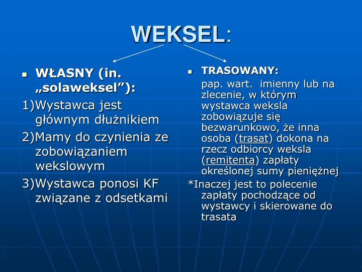 """WŁASNY (in. """"solaweksel""""):"""