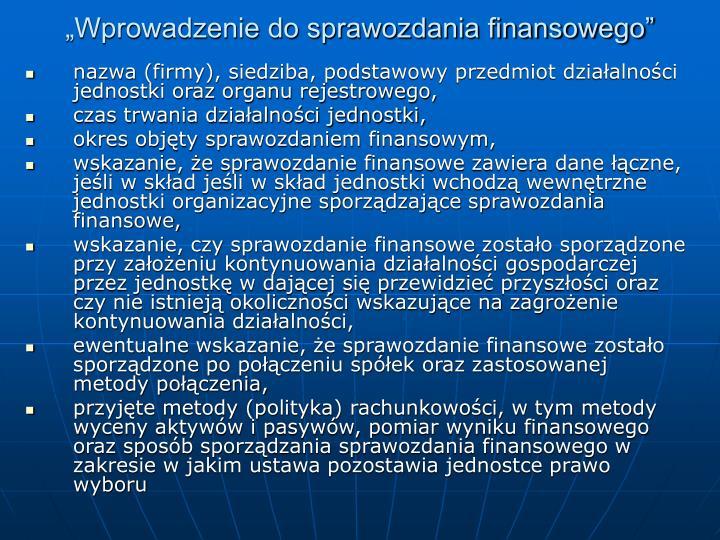 """""""Wprowadzenie do sprawozdania finansowego"""""""