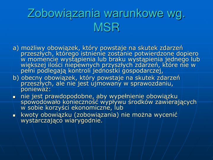 Zobowiązania warunkowe wg. MSR