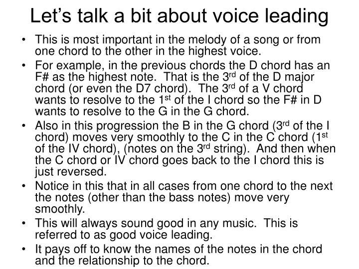 Let's talk a bit about voice leading