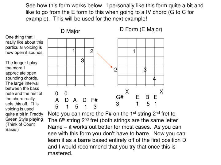 See how this form works below.  I personally like this form quite a bit and like to go from the E form to this when going to a IV chord (G to C for example).  This will be used for the next example!