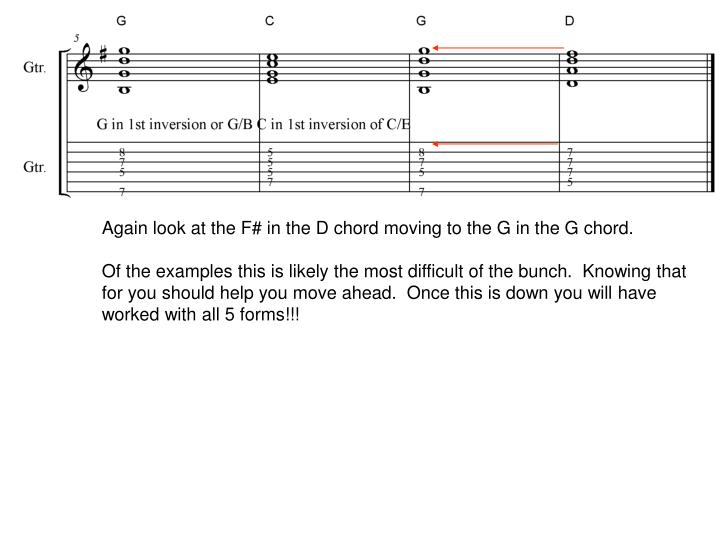 Again look at the F# in the D chord moving to the G in the G chord.