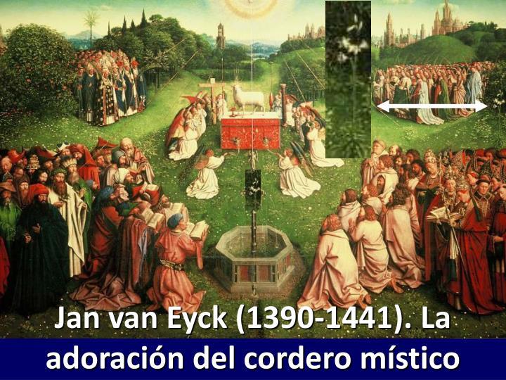 Jan van Eyck (1390-1441). La adoración del cordero místico