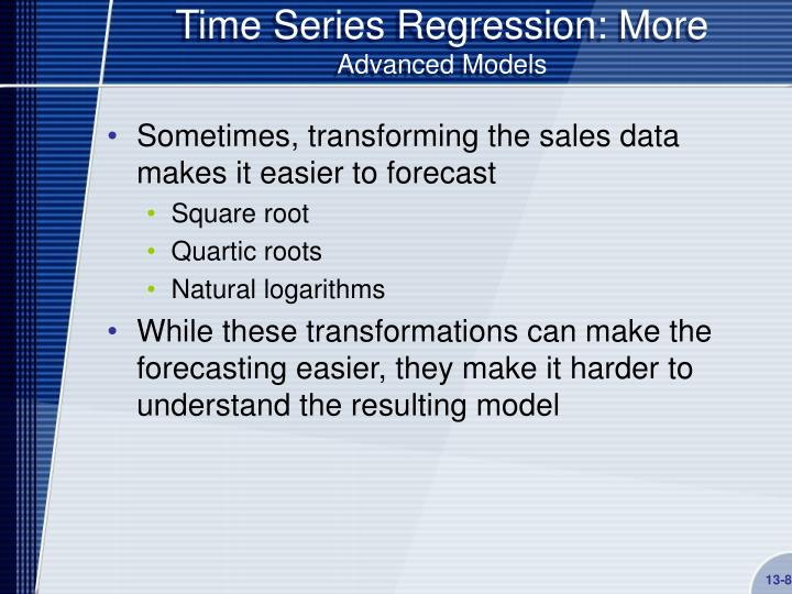 Time Series Regression: More