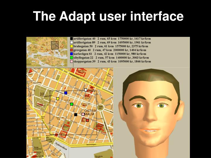 The Adapt user interface