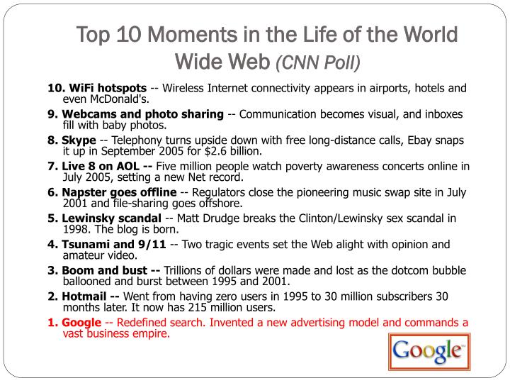 Top 10 Moments in the Life of the World Wide Web