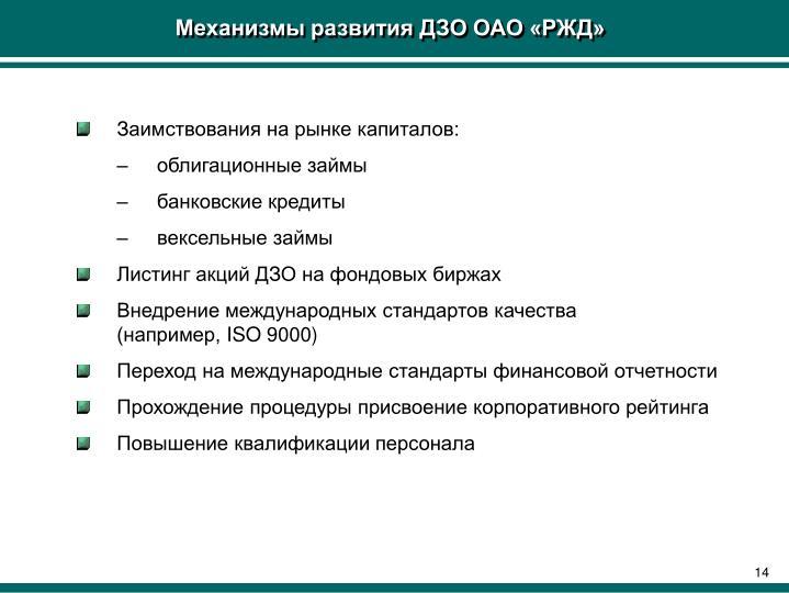 Механизмы развития ДЗО ОАО «РЖД»