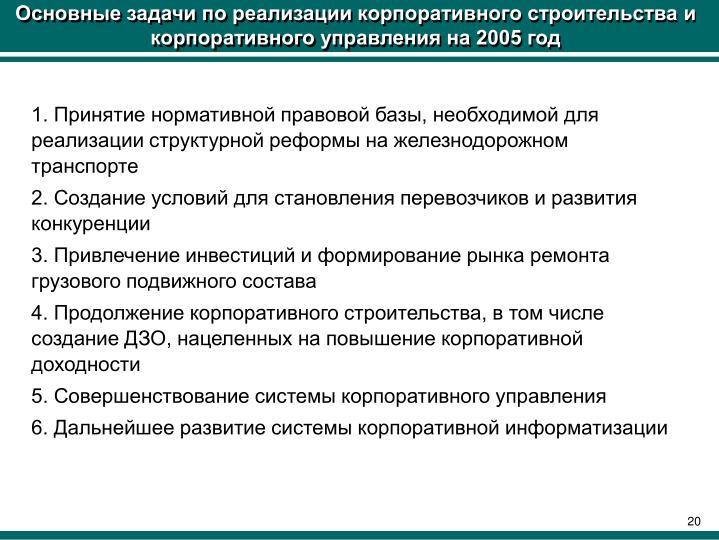 Основные задачи по реализации корпоративного строительства и корпоративного управления на 2005 год