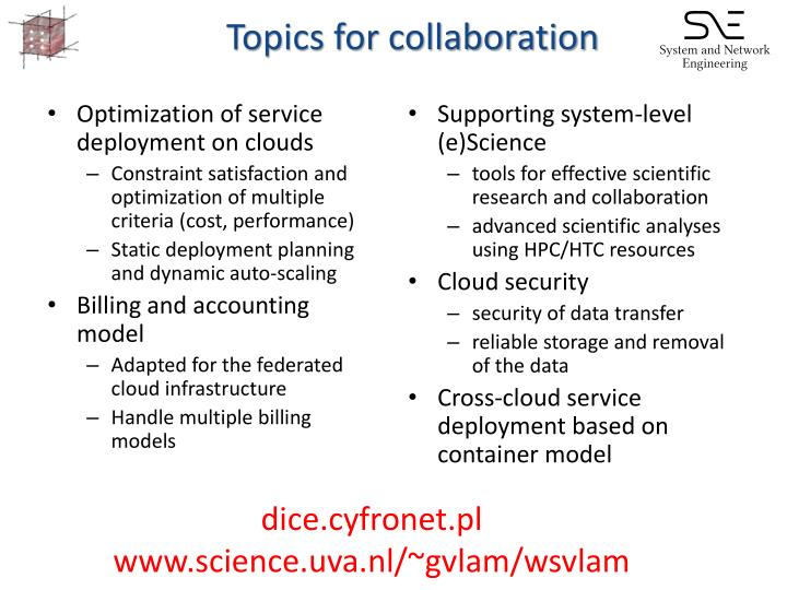 Topics for collaboration