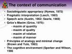 the context of communication