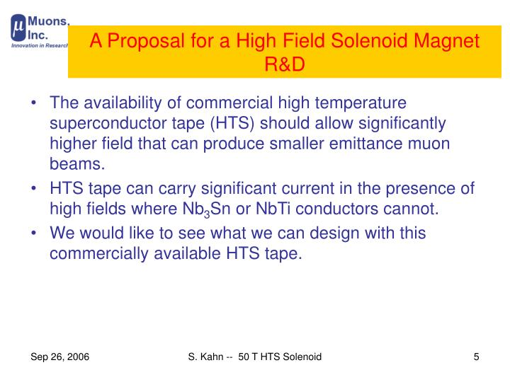 A Proposal for a High Field Solenoid Magnet R&D