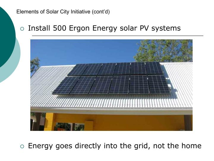 Elements of Solar City Initiative (cont'd)