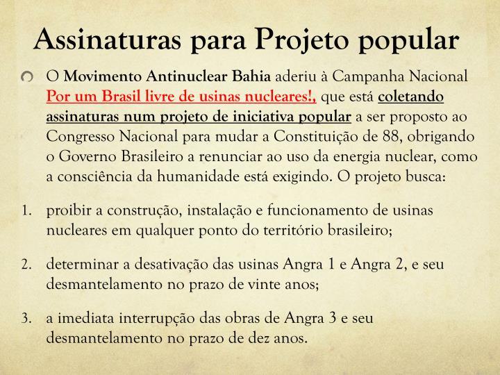 Assinaturas para Projeto popular