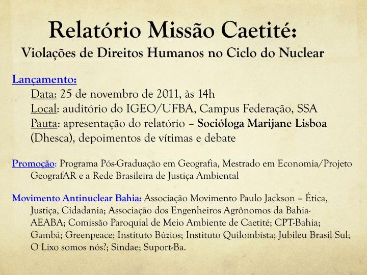 Relatório Missão Caetité: