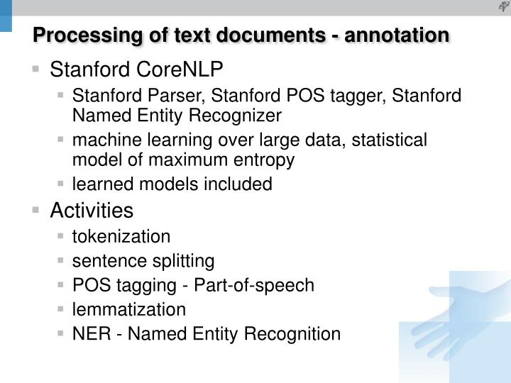 Processing of text documents