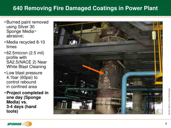 640 removing fire damaged coatings in power plant