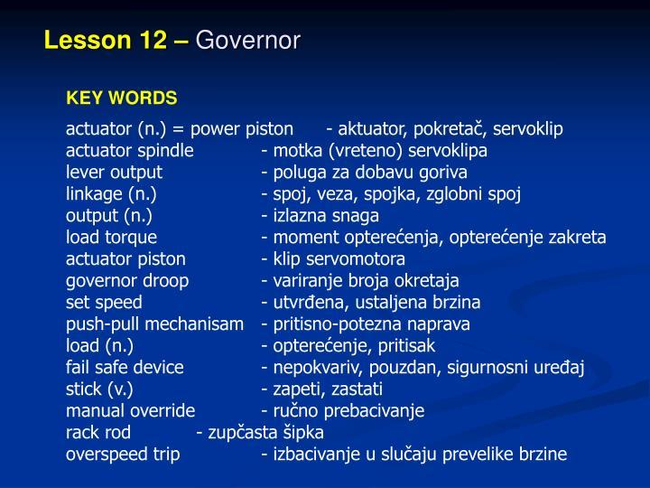 Lesson 12 –