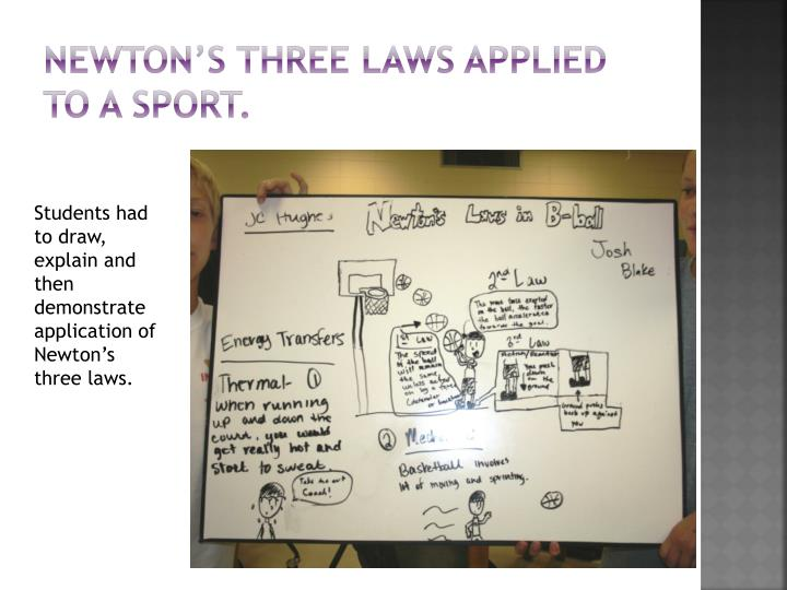 Newton's three laws applied to a sport.
