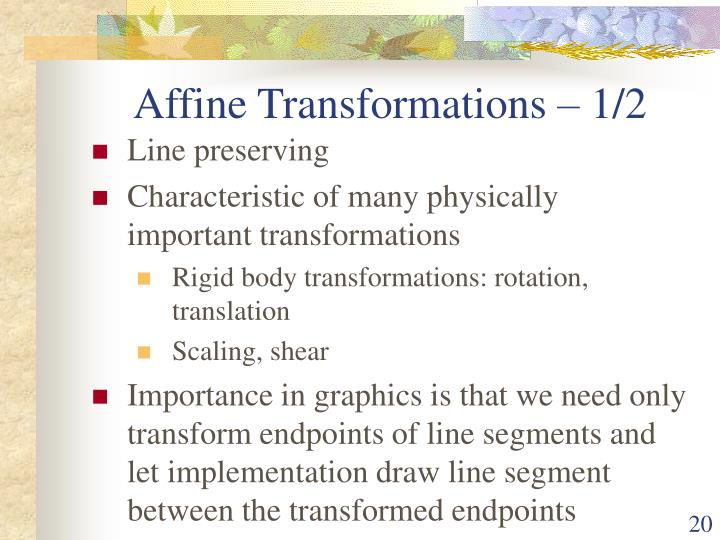 Affine Transformations – 1/2