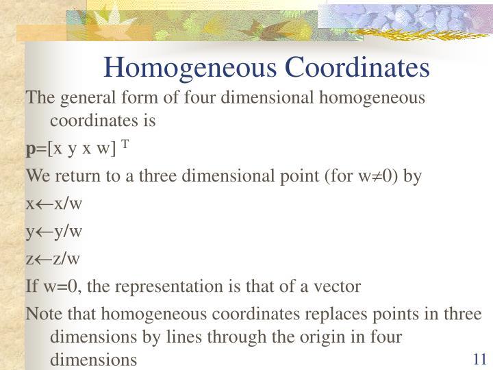 Homogeneous Coordinates