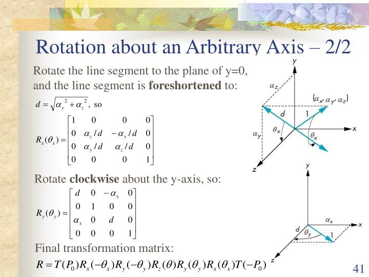 Rotation about an Arbitrary Axis – 2/2