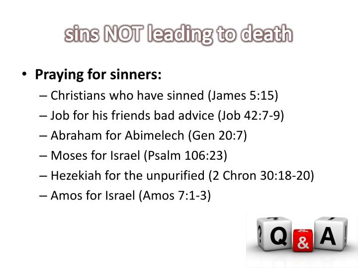 sins NOT leading to death