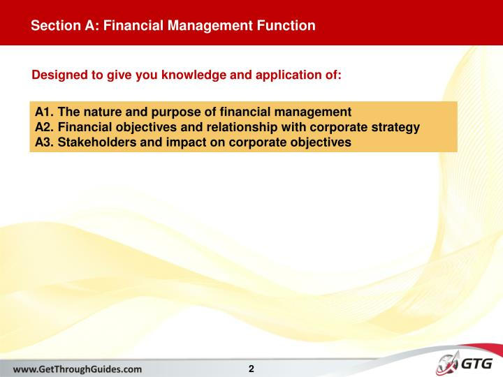 Section A: Financial Management Function