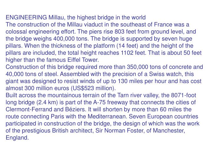 ENGINEERING Millau, the highest bridge in the world