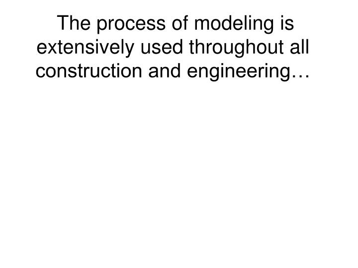 The process of modeling is extensively used throughout all construction and engineering