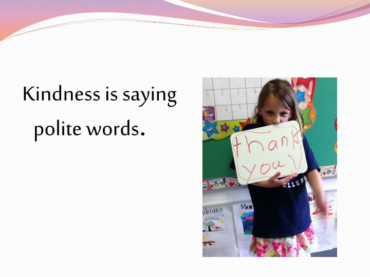 Kindness is saying polite words