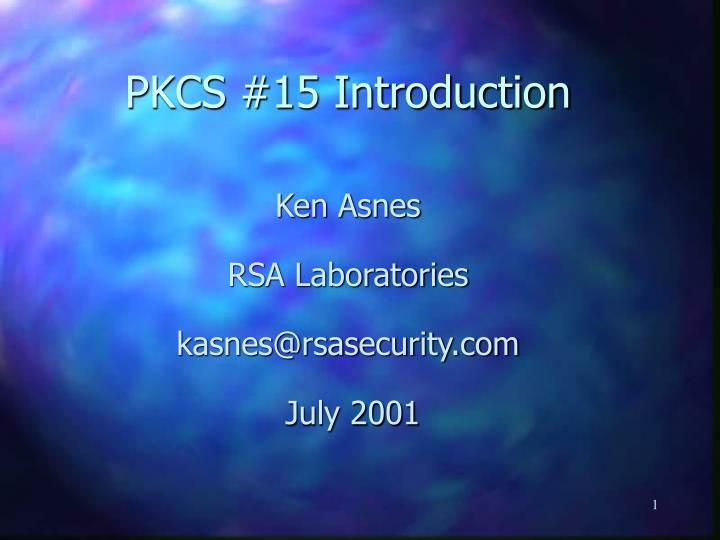 Pkcs 15 introduction