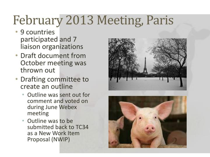 February 2013 Meeting, Paris