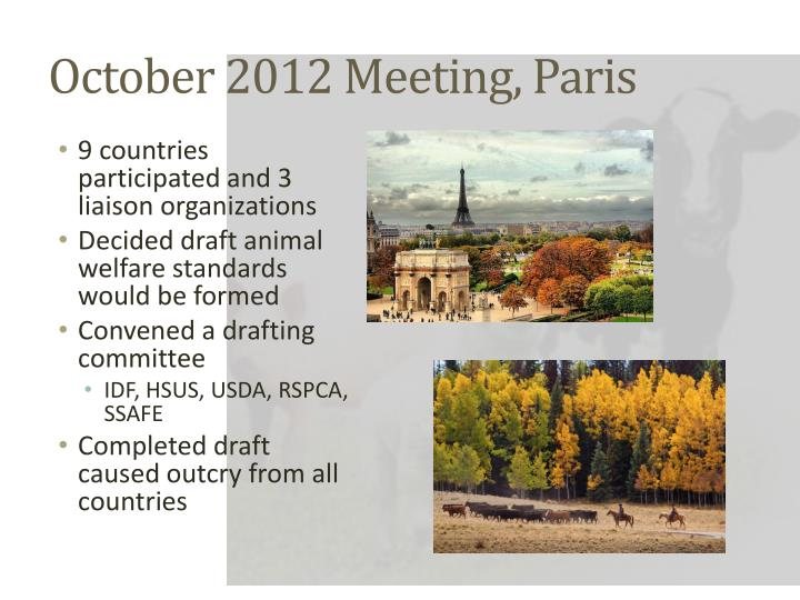 October 2012 Meeting, Paris