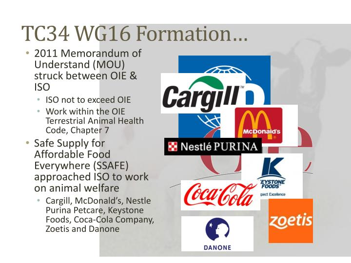 TC34 WG16 Formation…