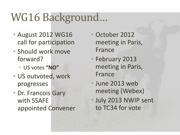 WG16 Background…