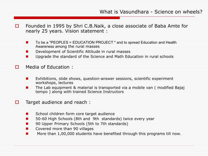 What is vasundhara science on wheels