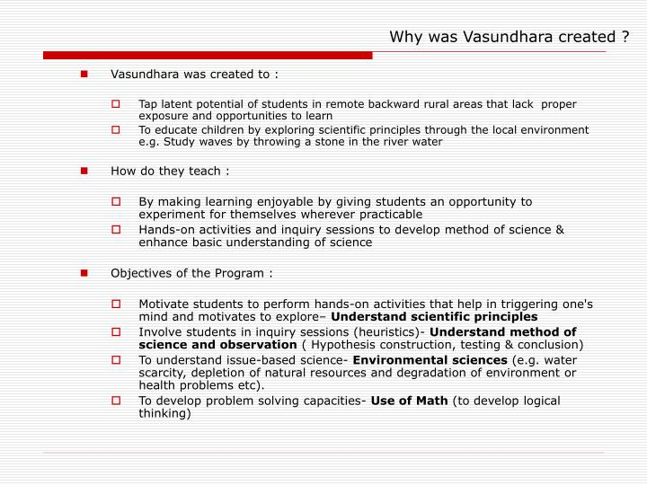 Why was vasundhara created
