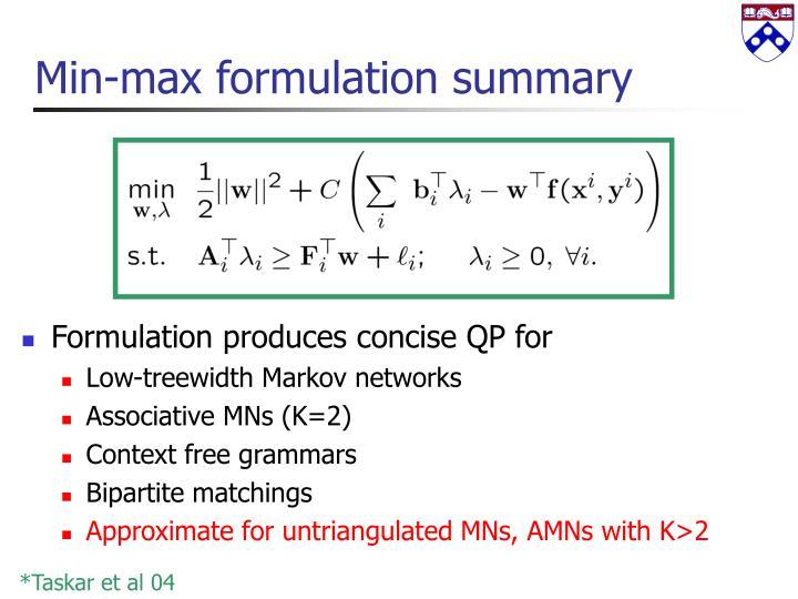 Min-max formulation summary