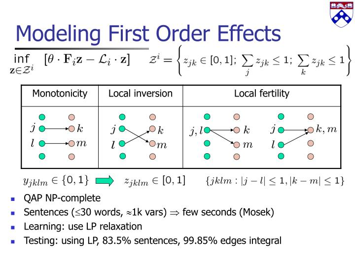 Modeling First Order Effects