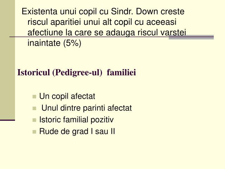 Existenta unui copil cu Sindr. Down creste riscul aparitiei unui alt copil cu aceeasi afectiune la care se adauga riscul varstei inaintate (5%)