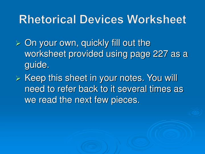 Rhetorical devices worksheet