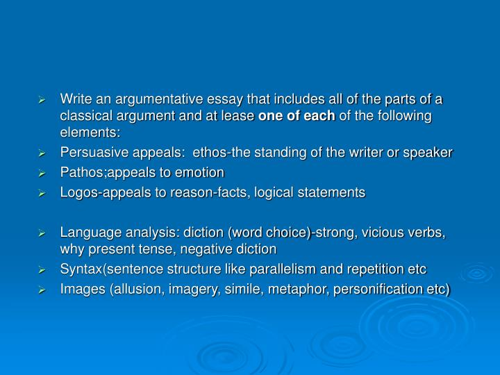 Write an argumentative essay that includes all of the parts of a classical argument and at lease