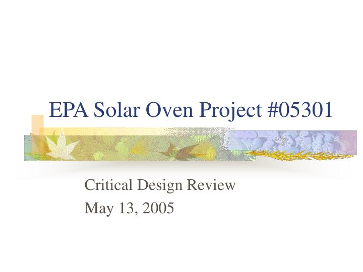 Epa solar oven project 05301