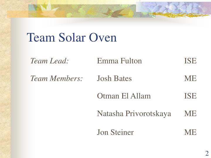 Team Solar Oven